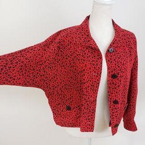 Vintage Red Silk Leopard Print Cropped Jacket